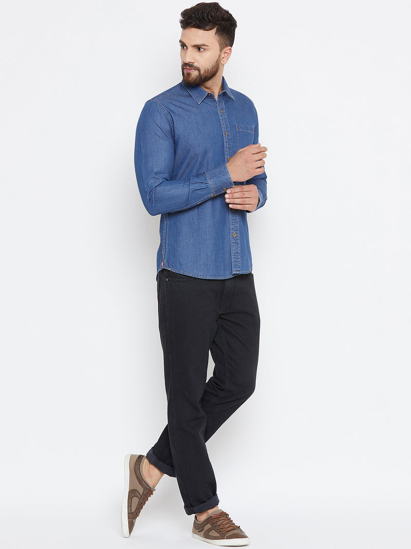 Men Dark Blue Washed Slim Fit Casual Shirt - JUMP USA