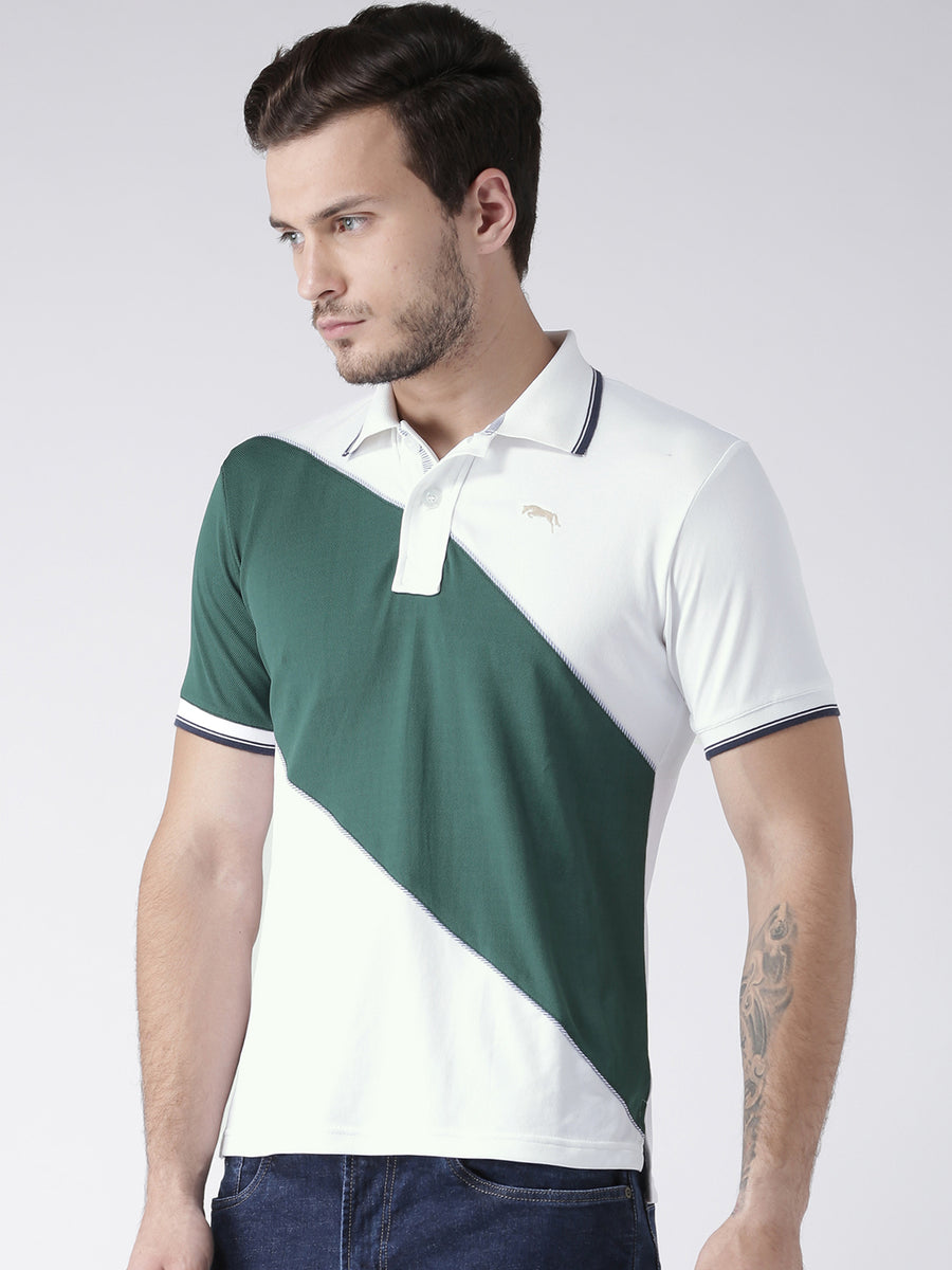 Men Casual Solid White Polo Collar T-Shirt - JUMP USA