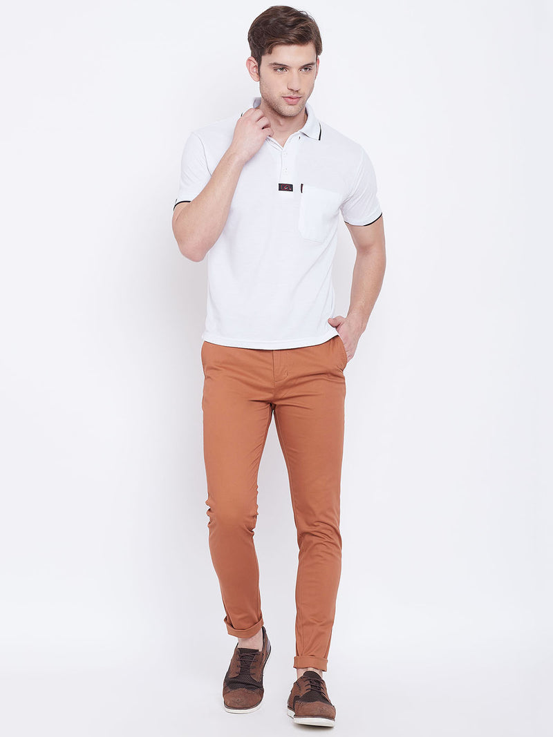 JUMP USA Men Bronze Casual Slim Fit Trousers