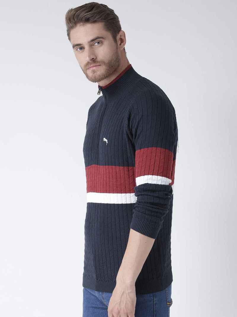 Men Navy Blue Solid Sweater