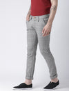 Men Grey Slim Fit Checked Chinos - JUMP USA