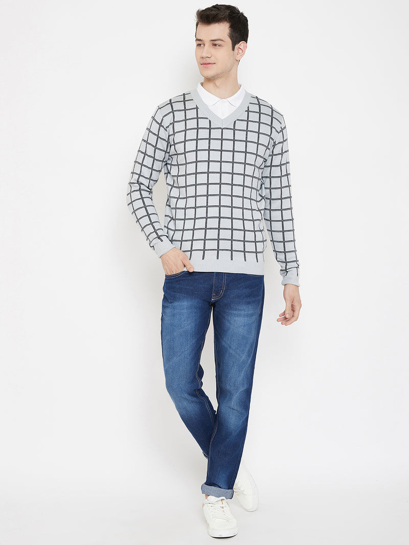 JUMP USA Men Grey Checked V-Neck Casual Pullover