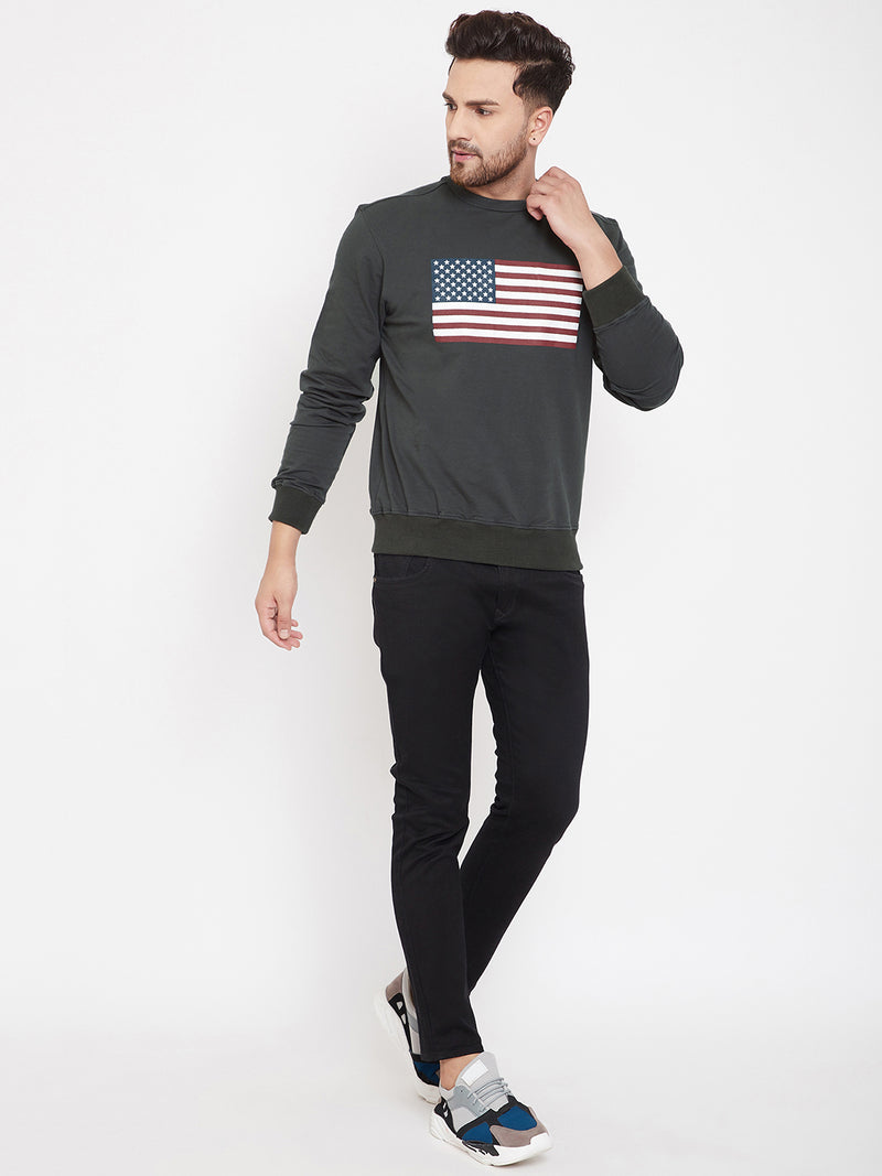 JUMP USA Men Charcoal Printed Sweatshirt
