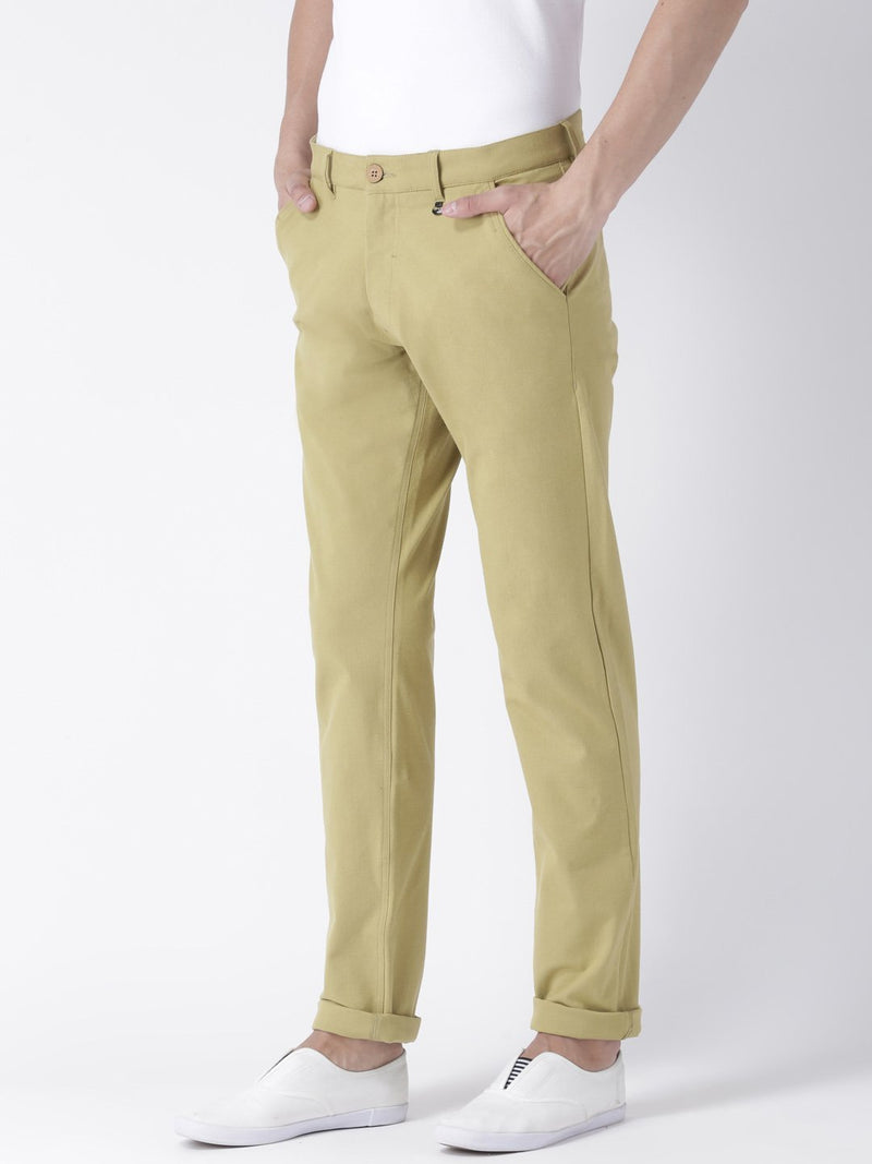 Men Khaki Slim Fit Solid Chinos - JUMP USA