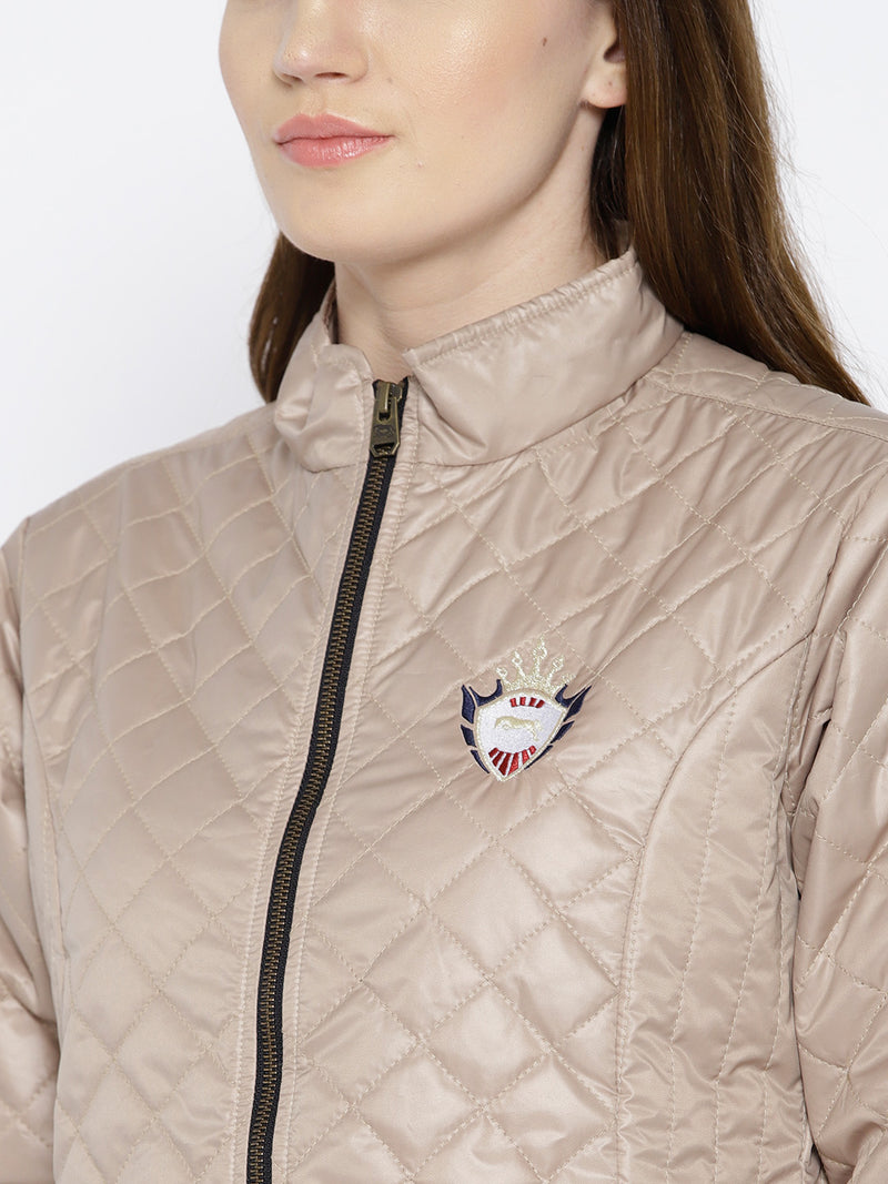 Women Beige Quilted Jacket