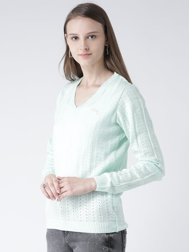 Women Teal Self Design Pullover