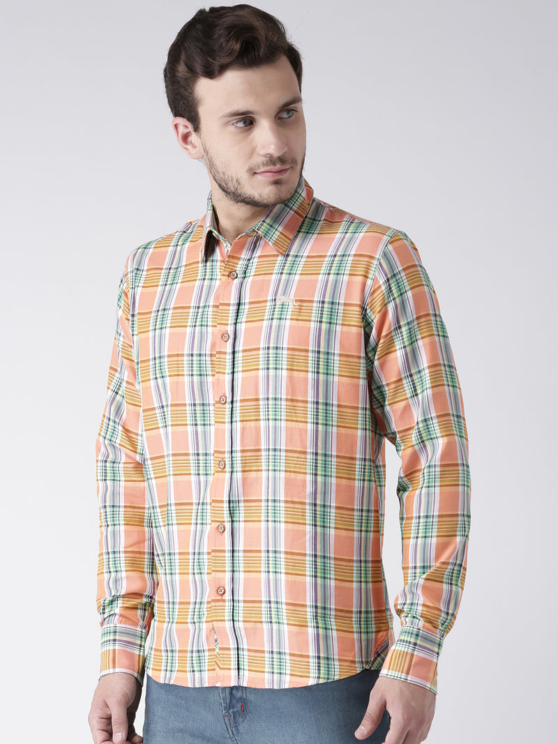 Men Casual Checked Orange Shirts