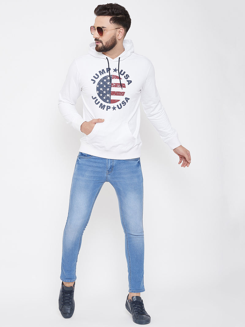 JUMP USA Men White Self Design Hooded Sweatshirt