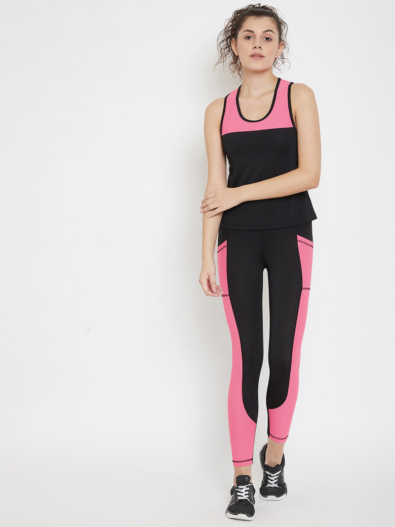 JUMP USA Women Black & Pink Colourblocked Active Wear Tights