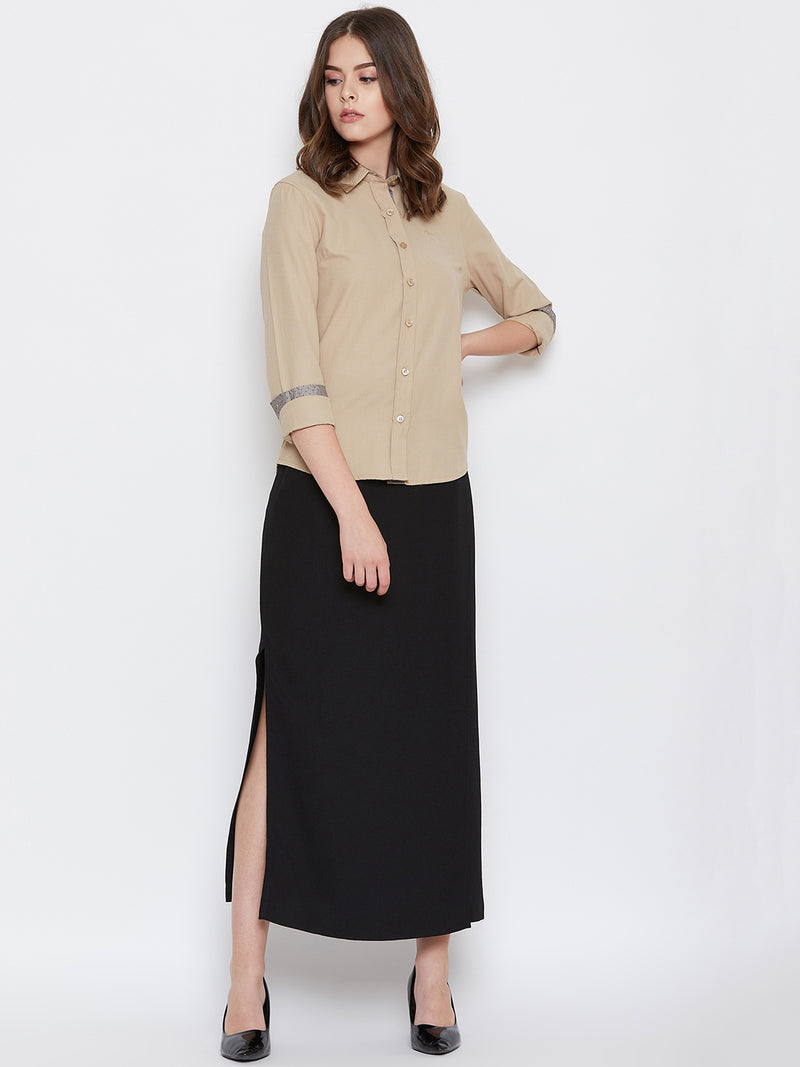 Women Beige Solid Casual Slim Fit Shirt