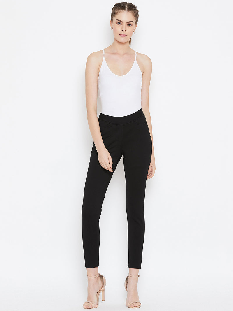 JUMP USA Women Black Solid Casual Skinny fit Trousers - JUMP USA