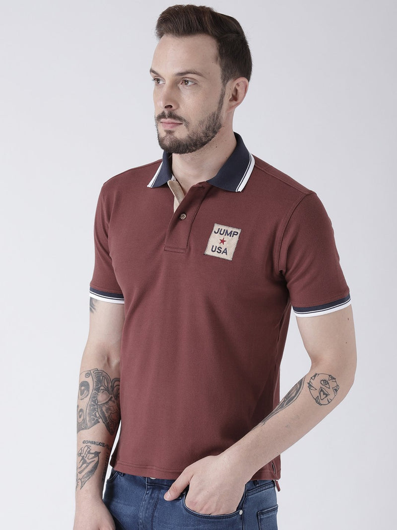 Men Maroon Solid Polo T-shirt