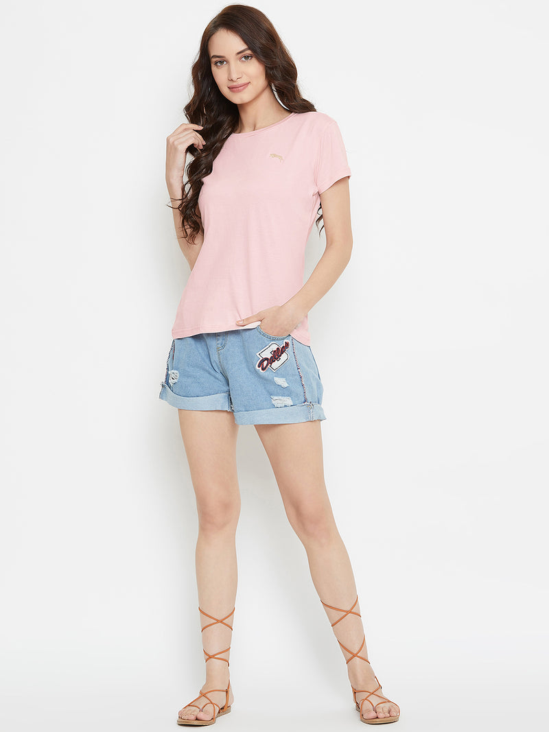 Women Pink Solid Casual Round Neck T-shirt