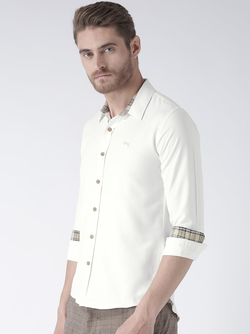 Men White Bamboo Cotton & Micro Polyester Shirt