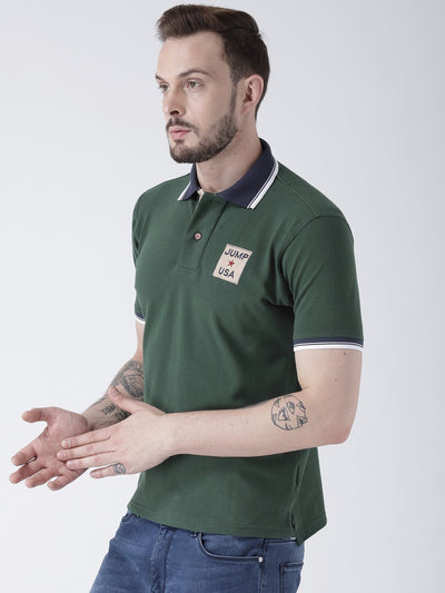 Men Green Solid Polo T-shirt - JUMP USA