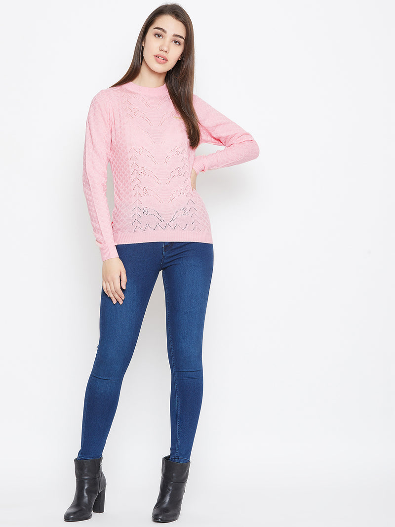 JUMP USA Women Pink Self Design Sweater