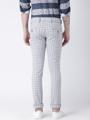 JUMP USA Men Off White Slim Fit Checked Chinos - Jump USA