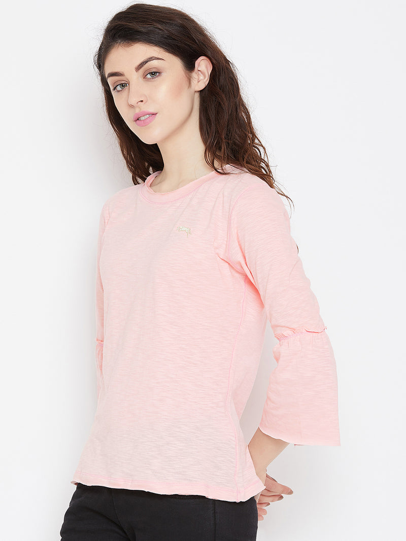 Women Pink Solid Casual Tops