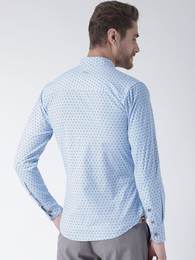 Men Blue Solid Cotton Regular Fit Shirt - JUMP USA