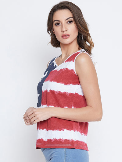 JUMP USA Women Red & White Printed Casual Printed Tank Top - JUMP USA