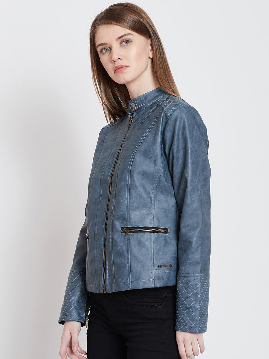 JUMP USA Women Casual Blue Leather Jacket_1