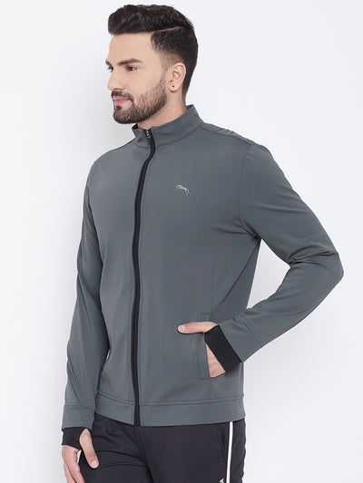 JUMP USA Men Grey Solid Active Wear Sporty Jacket - JUMP USA