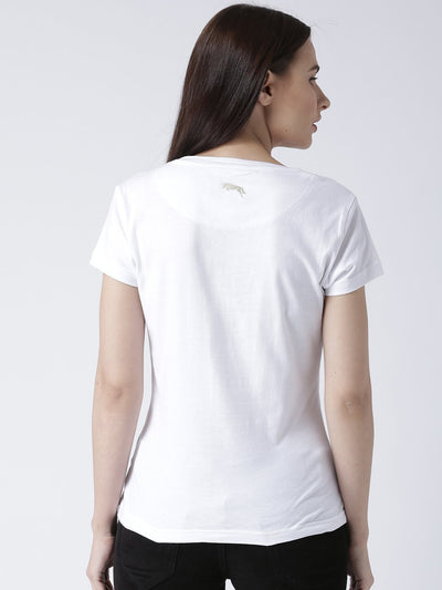 Women White Solid Round Neck T-shirt - JUMP USA