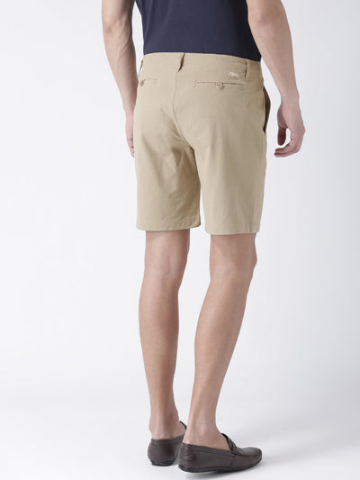 Casual Men Solid Slim Fit Beige Chino Shorts - JUMP USA