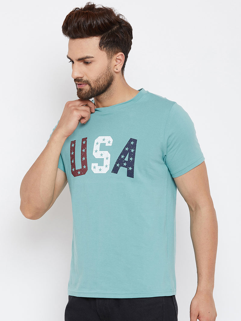 JUMP USA Men Blue Solid Round Neck T-Shirt