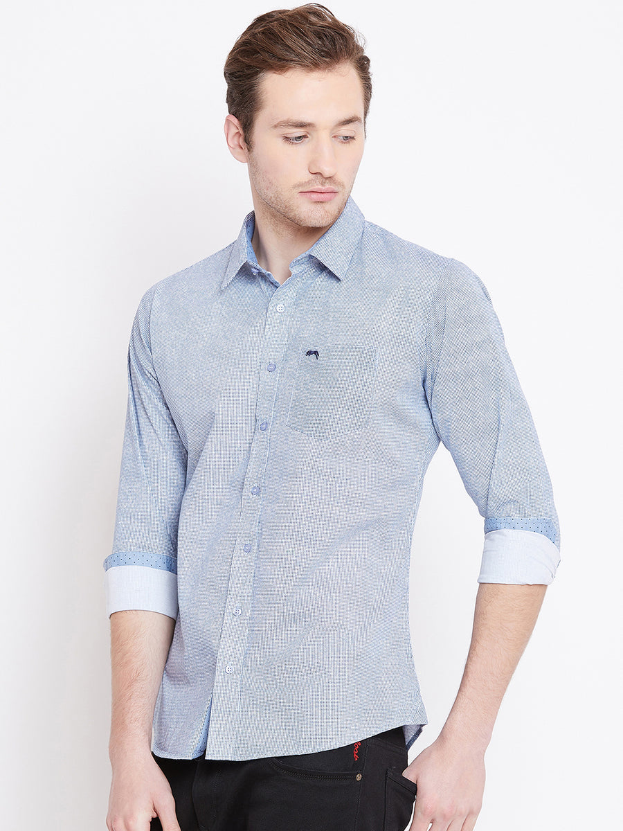 Men White Printed Casual Slim Fit Shirts
