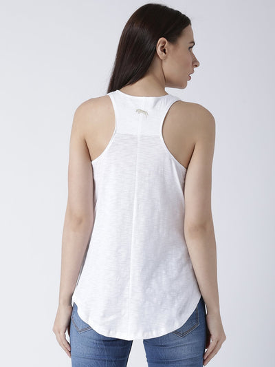 Women White Solid Top - JUMP USA