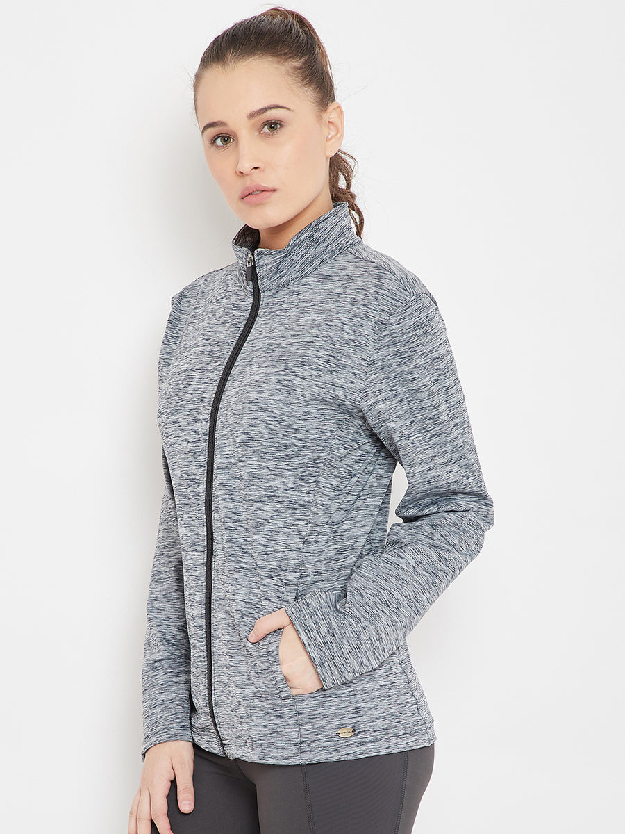 Women Sports Navy Blue Sporty Jacket