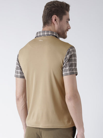 Men Beige Solid Polo Collar T-Shirt - JUMP USA