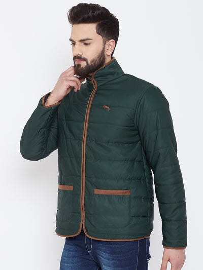 JUMP USA Men Green Solid Casual Quilted Jacket - JUMP USA