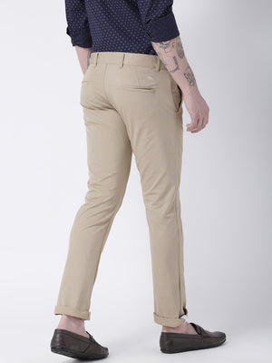 JUMP USA Men Beige Slim Fit Solid Chinos - Jump USA
