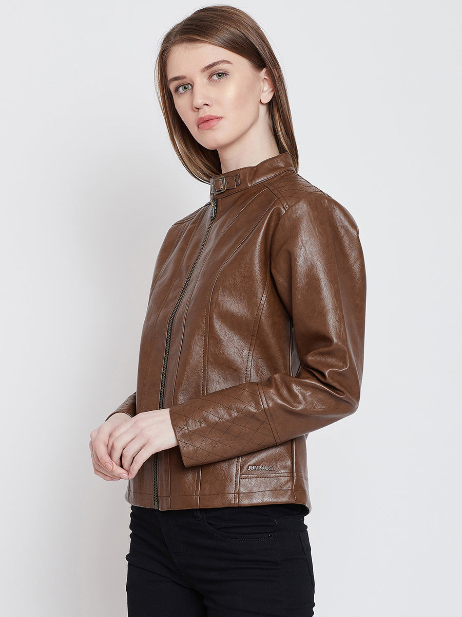 JUMP USA Women Casual Tan Leather Jacket_1
