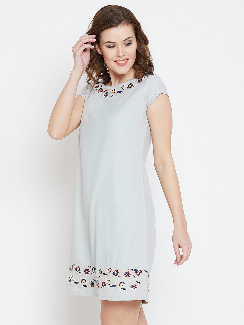 JUMP USA Women Grey Embroidered Sheath Dress - JUMP USA