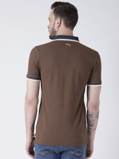 Men Brown Solid Polo T-shirt - JUMP USA