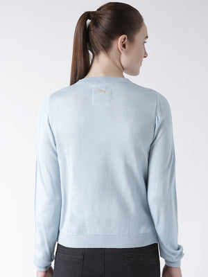 Women Cotton Casual Long Sleeve  Blue Winter Sweaters - Jump USA