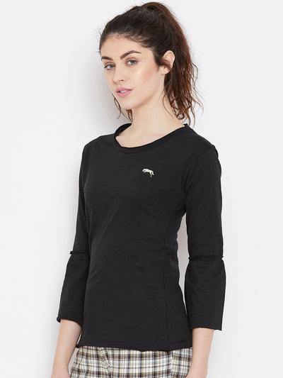 Women Black Solid Casual Tops - JUMP USA