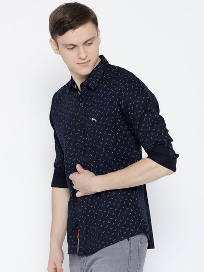 Men Navy Blue Slim Fit Printed Casual Shirt - JUMP USA