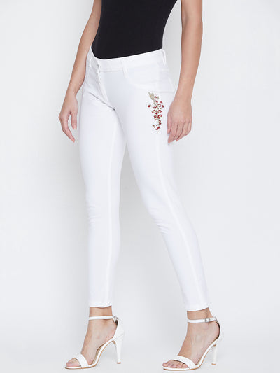 JUMP USA Women White Embroidered Skinny Fit Trousers - JUMP USA
