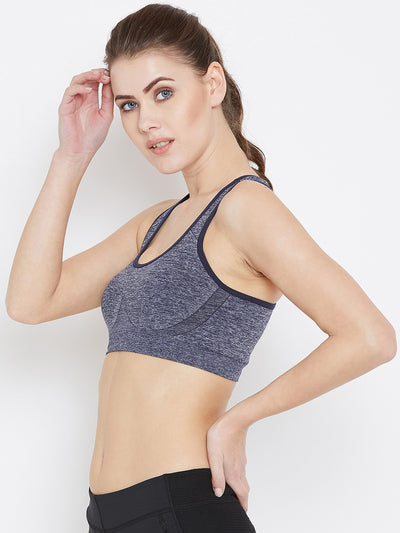 JUMP USA Women Navy Blue Non-Wired Lightly Padded Sports Bra - JUMP USA