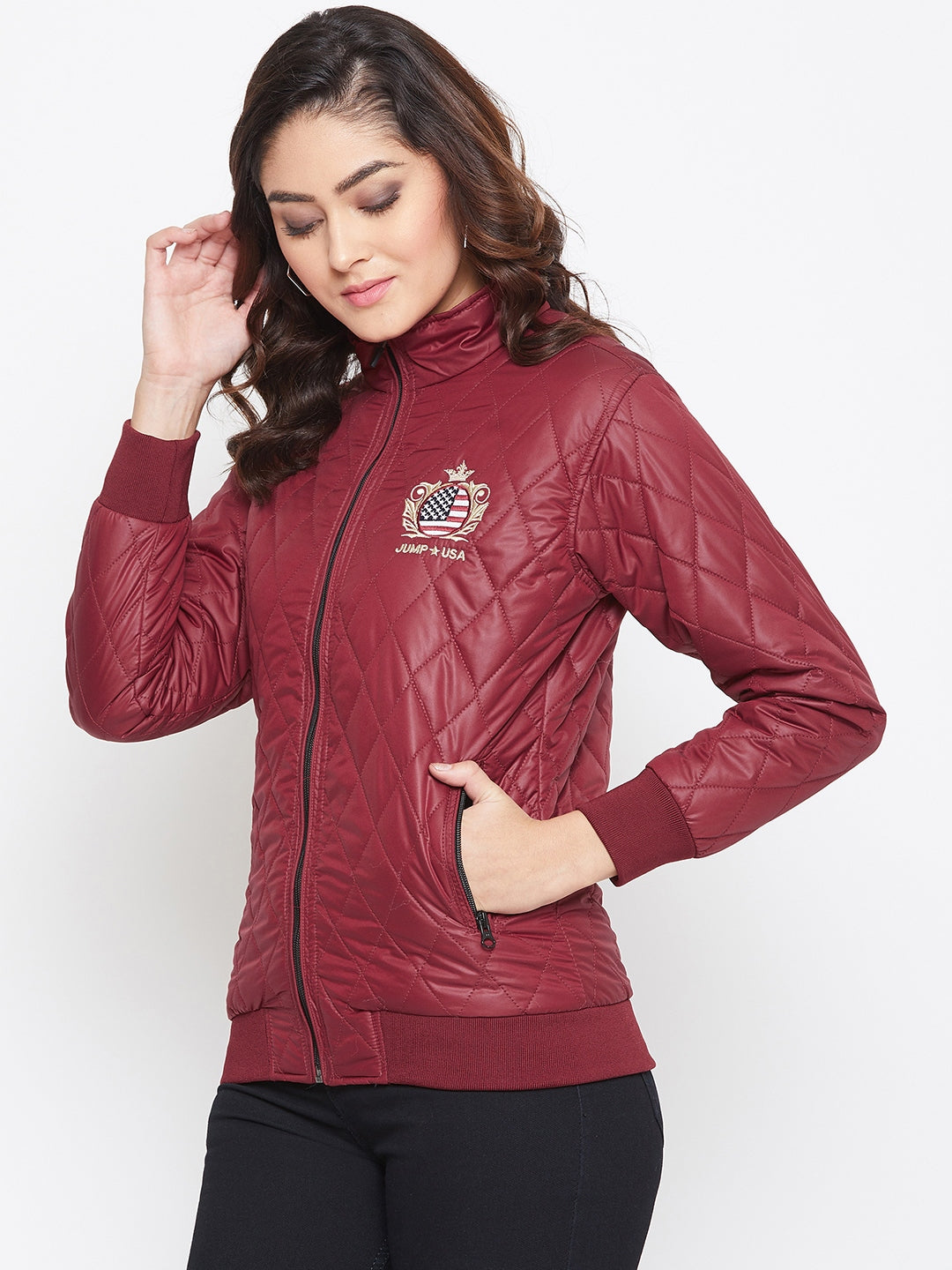 JUMP USA Women Maroon Self Design Jacket - JUMP USA