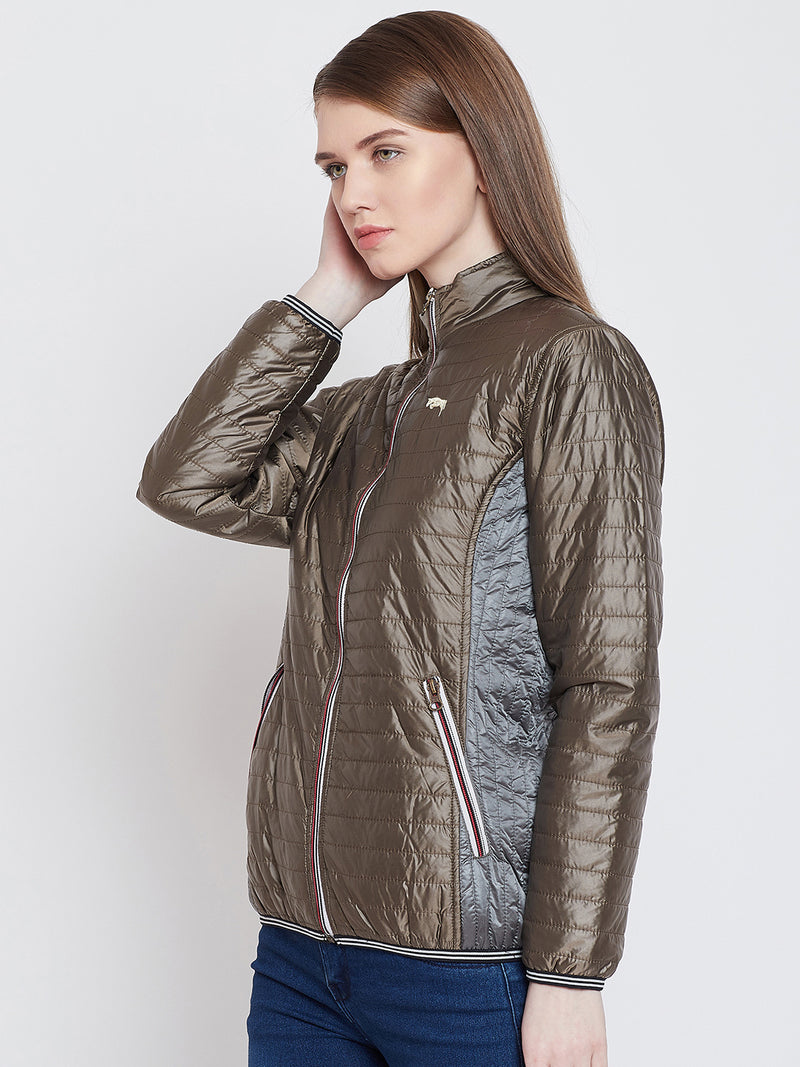 Women Casual Copper Quilted Jacket
