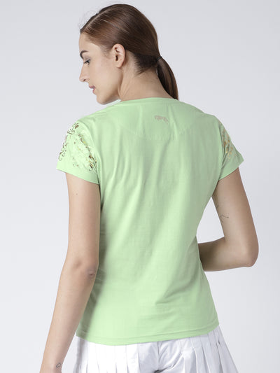 Women Green Casual T-shirt - JUMP USA