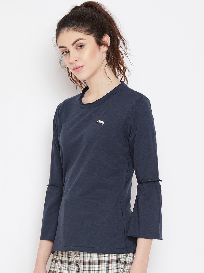 JUMP USA Women Navy Blue Solid Casual Tops_1