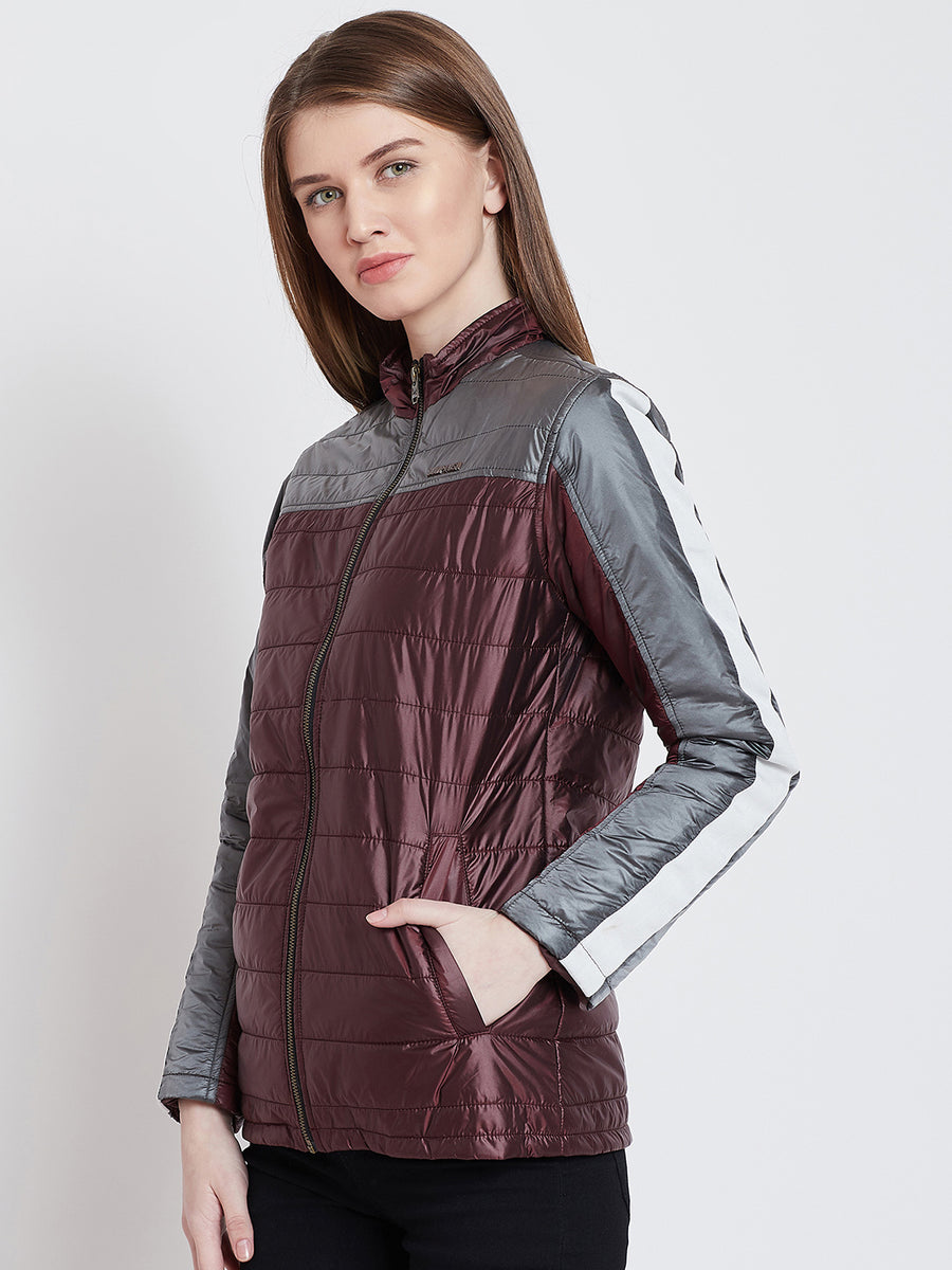 JUMP USA Women Casual Maroon Quilted Jacket_1