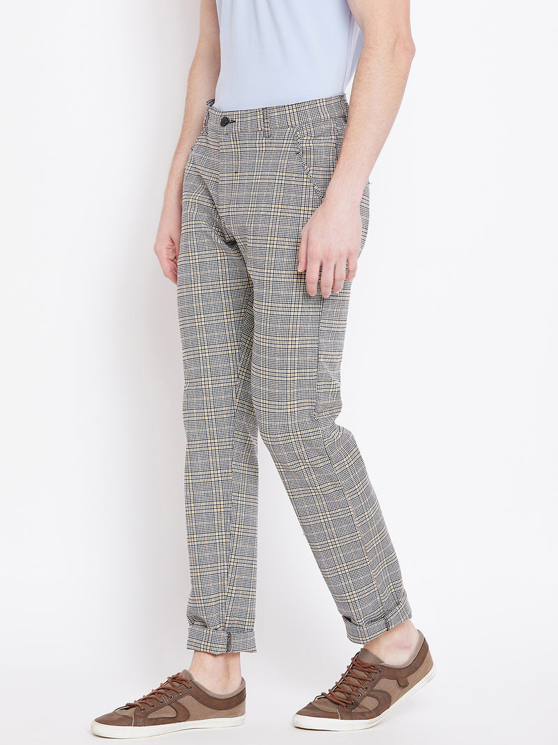 Men Grey Checked Casual Regular Fit Trousers