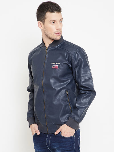 JUMP USA Navy Solid Casual PU Leather Varsity Jacket - JUMP USA